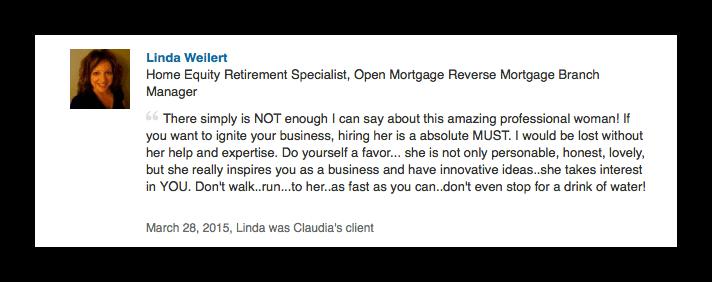 Linda Weilert LinkedIn Reco - Compliments