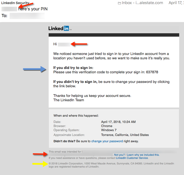 LInkedin legit email - A LinkedIn Phishing Scam to Look out for