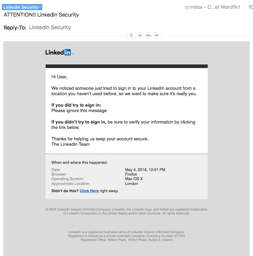 LinkedIn scam email - A LinkedIn Phishing Scam to Look out for